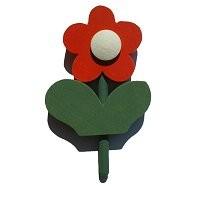 Blume mit Blatt rot f. kl. Kerzenr.