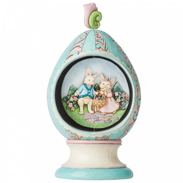 Jim Shore, Heartwood Creek, Folk-Art-Stil, Folk-Art-Style, Folk-Art-Kunst, Hase, Bunny, Ostern, Hasenpärchen, Revolving Egg with Bunnies and Chicks Scene, Sich drehendes Osterei