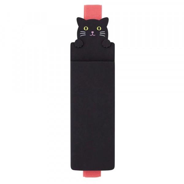 Lihit Lab, Punilabo, Black Cat Book Band Pen Case, Schwarze Katze Stifteetui mit Buchband