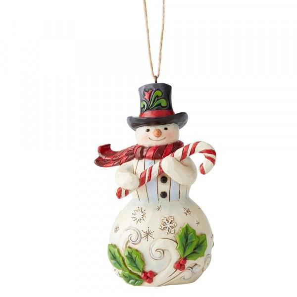 Heartwood Creek, Jim Shore, Snowman with Candy Cane, Schneemann mit Zuckerstange, Ornament, Anhänger