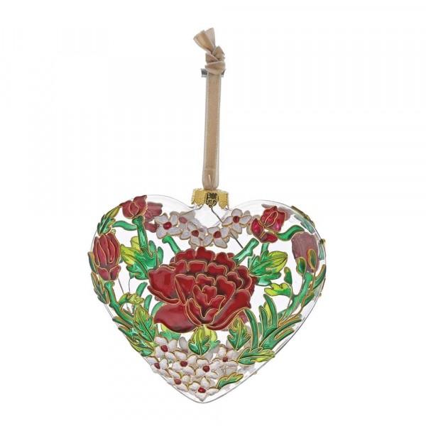 Enesco's Treasury of Ornaments, handbemalt, mundgeblasen, Rose, Anhänger