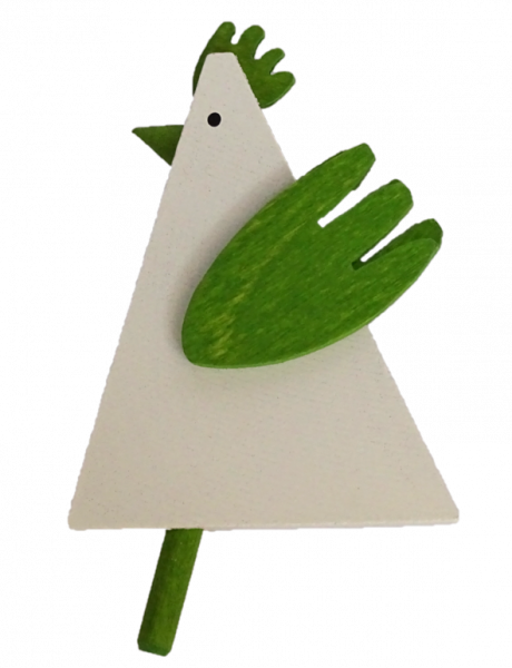 Sebastian Design, Kerzenringe, Steckfiguren, dreieckiger Hahn, weiß/grün