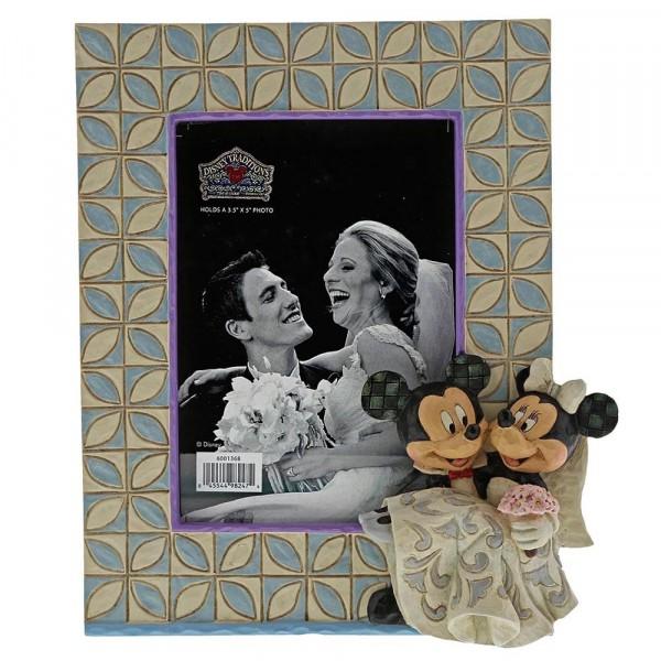 Disney Traditions, Jim Shore, Mickey & Minnie Photo Frame, Micky & Minnie Hochzeitsbilderrahmen