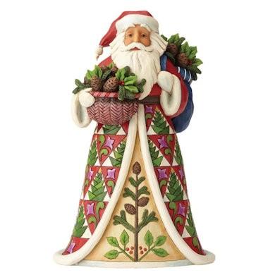 Heartwood Creek, Jim Shore, Pining For Christmas Santa, Weihnachtsmann mit Tannenzapfen