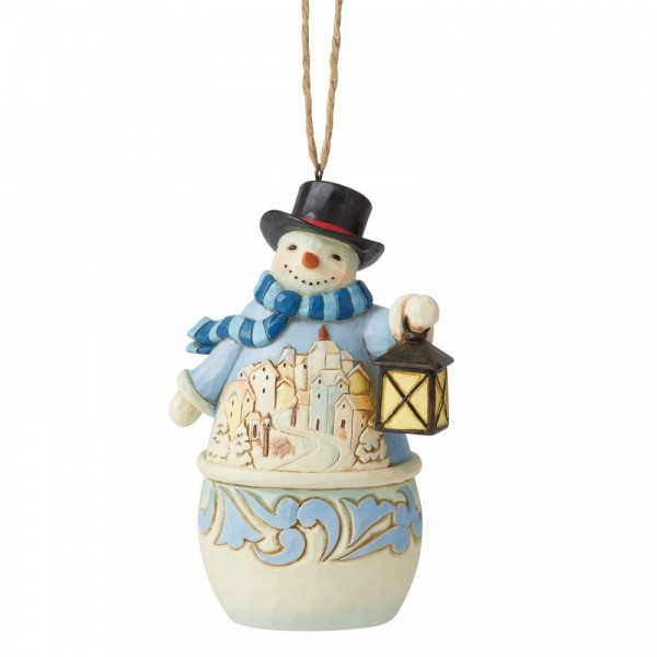 Heartwood Creek, Jim Shore, Snowman with Village Scene, Schneemann mit Dorfszenerie, Ornament, Anhänger, Tannenbaumanhänger, Weihnachtsbaumanhänger, Christbaumanhänger
