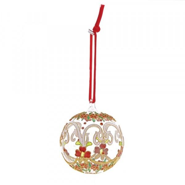 Enesco's Treasury of Ornaments, White & Red Flowers, Weiße und rote Blumen, Ornament, Anhänger, handbemalt, mundgeblasen
