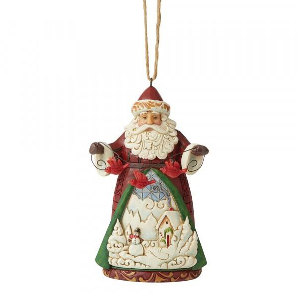 Heartwood Creek, Jim Shore, Santa with Cardinals Ornament, Weihnachtsmann mit Kardinälen Anhänger, Tannenbaumanhänger, Weihnachtsbaumanhänger, Christbaumanhänger