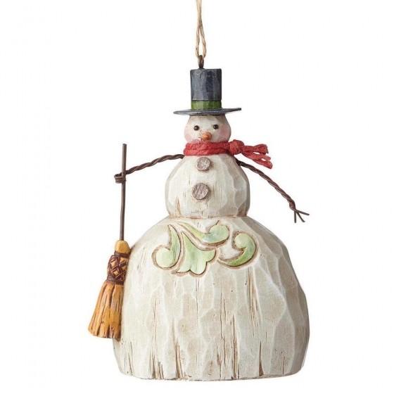 Heartwood Creek, Jim Shore, Folklore Snowman with Broom Ornament, Schneemann, Anhänger