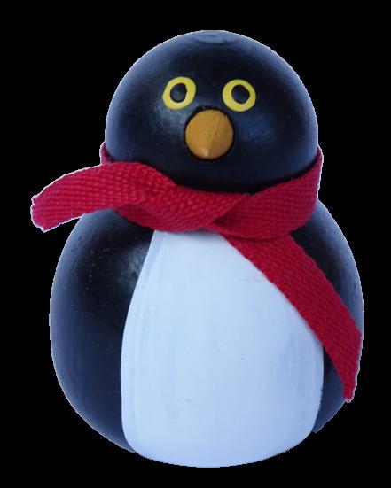 Sebastian Design, Candlering, Kerzenring, Skandinavischer Holzkranz, Skandinavische Kerzenringe, Pinguin mit rotem Schal, 46-202