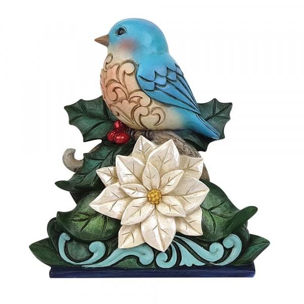 Jim Shore, Heartwood Creek, Jim Shore Weihnachten, 6009484, Winter Wonderland Bluebird with Poinsettia, Vogel mit Weihnachtsstern