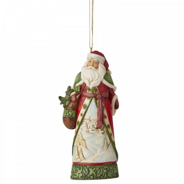 Heartwood Creek, Jim Shore, Santa with Winter Scene Ornament, Weihnachtsmann mit Winterszene, Anhänger, Tannenbaumanhänger, Weihnachtsbaumanhänger, Christbaumanhänger