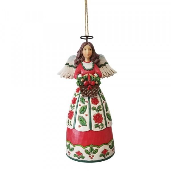 Jim Shore, Heartwood Creek, Jim Shore Engel, Jim Shore Angel, 6009456, Christmas Floral Angel Ornament, Weihnachtsengel mit Korb, Weihnachtsanhänger