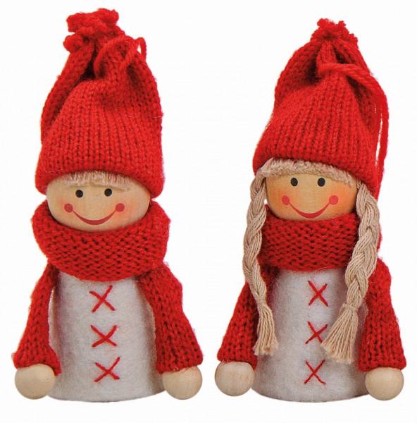 Schöne winterliche Dekoration für die großen Kerzenringe von Sebastian Design. Pärchen, Winterkinder, weiß/rot, 10021650