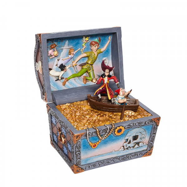 Disney Traditions, Jim Shore, Jim Shore Disney, Jim Shore Disneyfigur, Jim Shore Disney Figur, Peter Pan, Treasure strewn tableau, Peter Pan flying, Peter Pan Schatzkiste, treasure chest, 6008063, Captain Hook, Smee