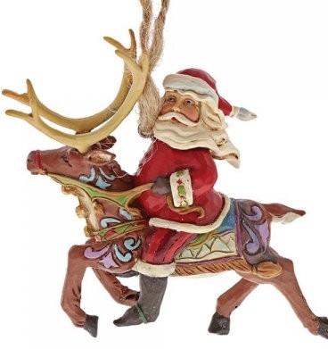 Heartwood Creek, Santa Riding Reindeer Ornament, Weihnachtsmann, Rentier, Anhänger