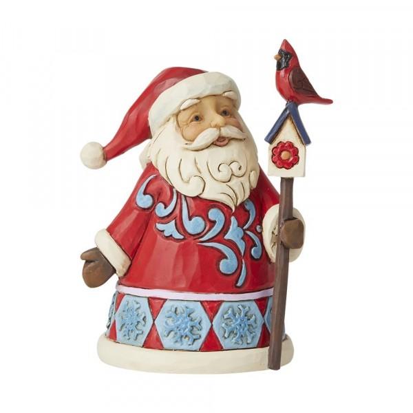 Jim Shore, Heartwood Creek, Jim Shore Weihnachten, 6009010, Mini Santa with Cardinal Birdhouse, Mini Weihnachtsmann mit Kardinal, Jim Shore Weihnachtsfigur, Heartwood Creek Weihnachtsfigur, Jim Shore Santa, Jim Shore Weihnachtsmann
