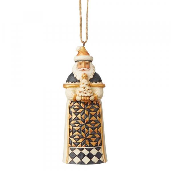 Heartwood Creek, Jim Shore, Black & Gold Santa Ornament, Anhänger