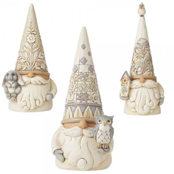 Jim Shore, Heartwood Creek, Jim Shore Gnome, Heartwood Creek Gnomes, Jim Shore Wichtel, 6008864_66, Woodland Gnomes, Set of 3, Set mit 3 Stück, White Woodland Collection