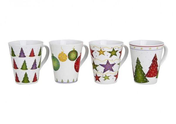 Kaffeebecher, Teebecher, Becher aus Porzellan, Weihnachtbecher, Weihnachtstasse, Becher mit Weihnachtsmotiv, Weihnachtsdekor, 15477