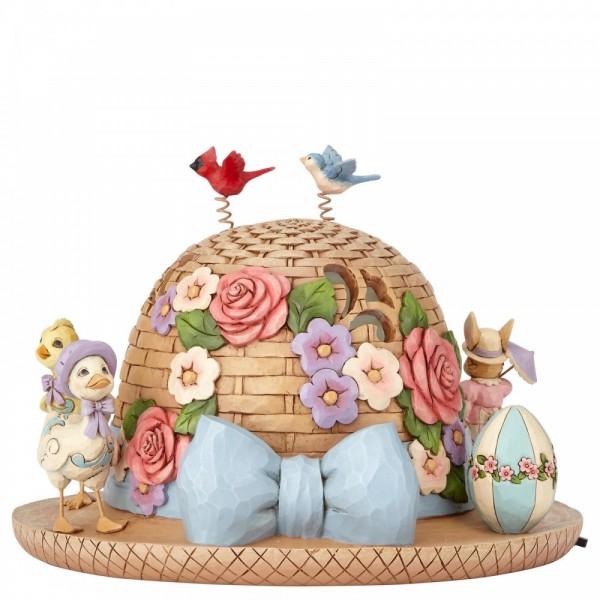 Heartwood Creek, Jim Shore, Bonnet of Easter Blessings, Lit Easter Bonnet Centerpiece, Osterhut