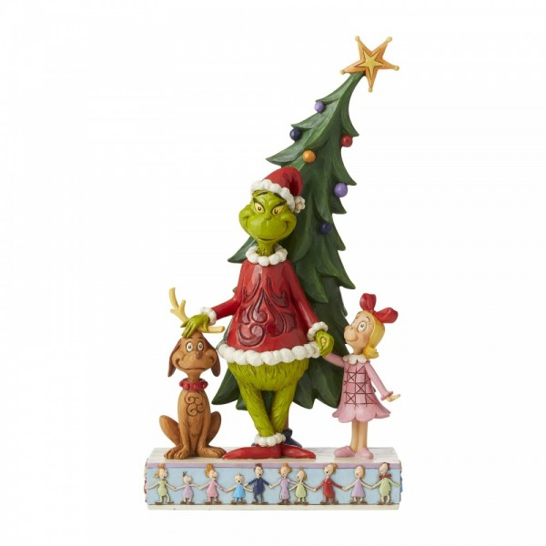 Jim Shore, Heartwood Creek, The Grinch Collection, Grinch, Max and Cindy Decorating Tree, 6006567, Grinch, Max und Cindy schmücken den Weihnachtsbaum