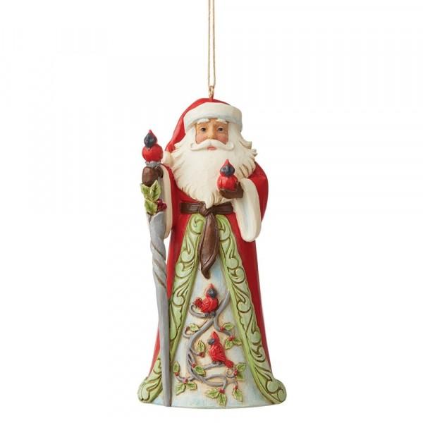 Jim Shore, Heartwood Creek, Jim Shore Weihnachten, 60094659 Santa with Cardinals Ornament, Weihnachtsmann mit Kardinal Weihnachtsanhänger, Jim Shore Santa, Jim Shore Weihnachtsmann, Heartwood Creek Santa, Heartwood Creek Weihnachtsmann