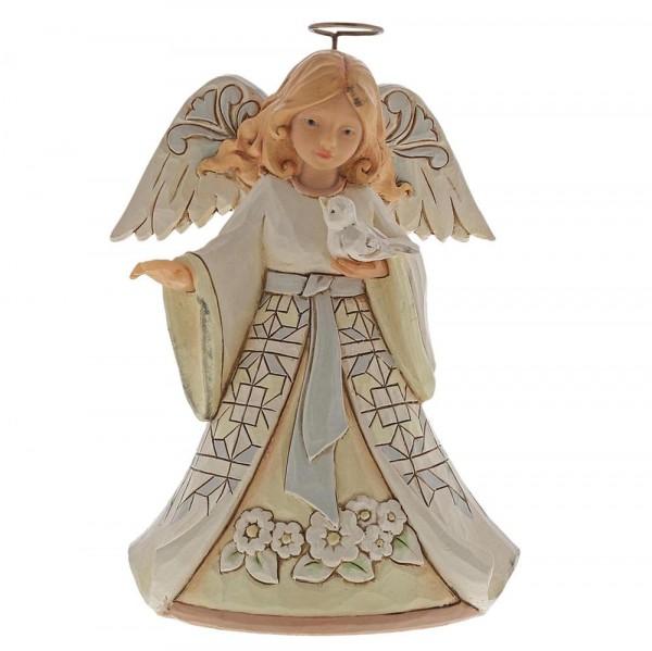 White Woodland Angel with Bluebird / Engel mit Vogel