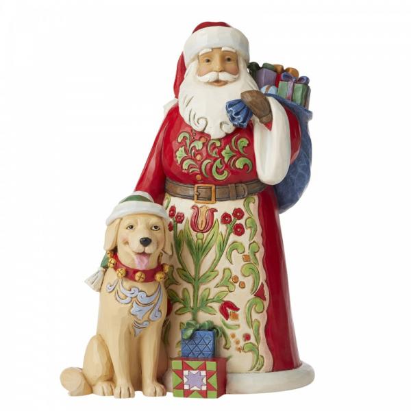 Heartwood Creek, Jim Shore, Festive, furry Friendship, Santa, Weihnachtsmann, Festliche, pelzige Freundschaft, Santa with dog, Weihnachtsmann mit Hund, 6006636