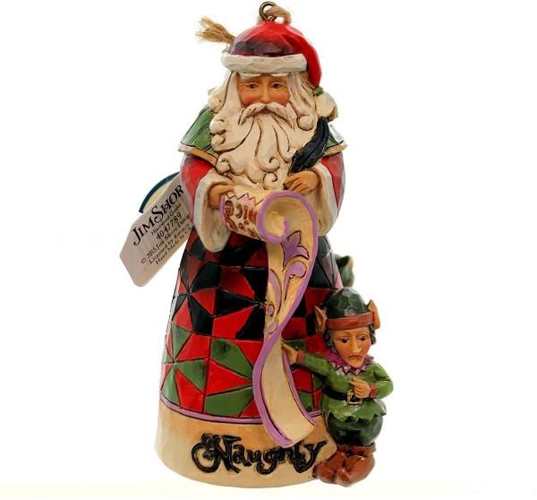 Heartwood Creek, Jim Shore, Naughty & Nice Ornament, Böse und Gut, Weihnachtsmann, Anhänger, 4047789