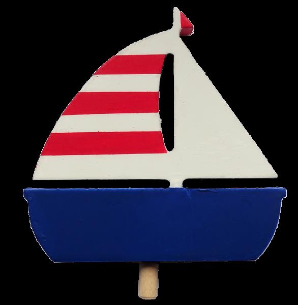 Segelschiff mit gestreiftem Segel, dunkelblau