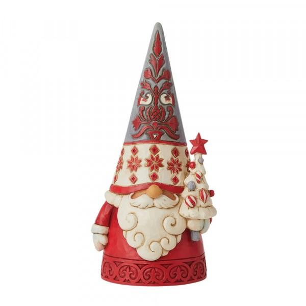 Jim Shore, Heartwood Creek, Jim Shore Weihnachten, 6009499, Nordic Noel Gnome Small Figurine, Nordic Noel Wichtel mit Tannenbaum, nordisch, skandinavische Dekoration