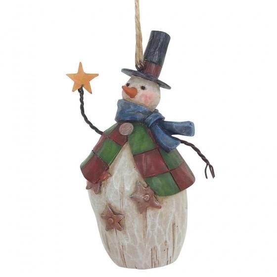 Heartwood Creek, Jim Shore, Folklore Snowman with Top Hat Ornament, Schneemann, Anhänger
