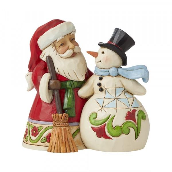 Jim Shore, Heartwood Creek, Jim Shore Weihnachten, 6009004, Pint Sized Santa with Snowman, Weihnachtsmann mit Schneemann, Jim Shore Santa, Jim Shore Weihnachtsmann, Heartwood Creek Santa, Heartwood Creek Weihnachtsmann