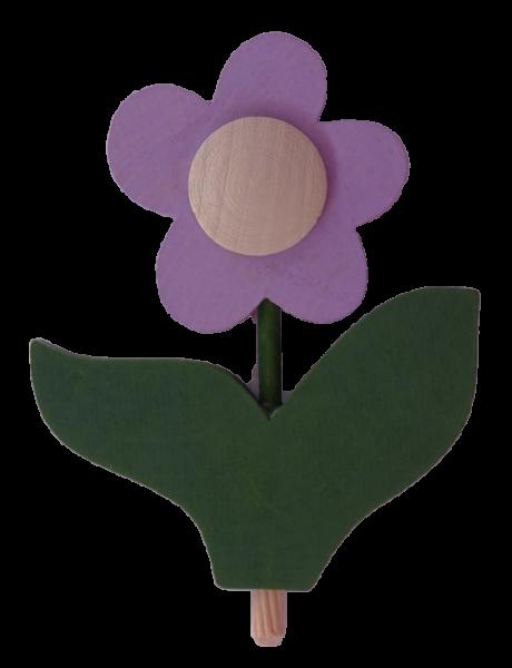 Sebastian Design, Candlering, Kerzenring, Skandinavischer Holzkranz, Skandinavische Kerzenringe, Blume mit Blatt, flieder, helllila, 10-530-150