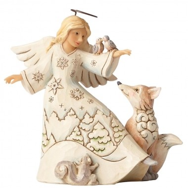 Heartwood Creek, Blessed Be All Creatures Angel, White Woodland, Engel mit Waldtieren