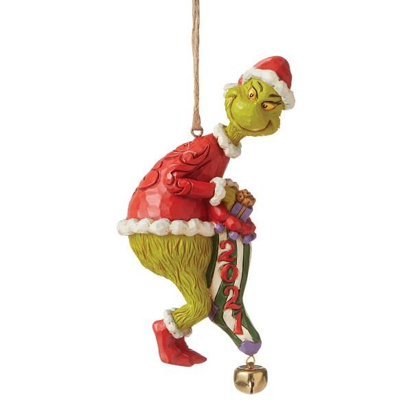 Jim Shore, Heartwood Creek, The Grinch Collection, Grinch, Grinch Dated Sock Ornament 2021, Grinch Ornament 2021, Weihnachtsanhänger, 6008894, The Grinch by Jim Shore