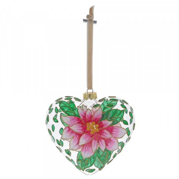 Enesco's Treasury of Ornaments, handbemalt, mundgeblasen, Pink Flower, Pinke Blume, Anhänger, Herzanhänger