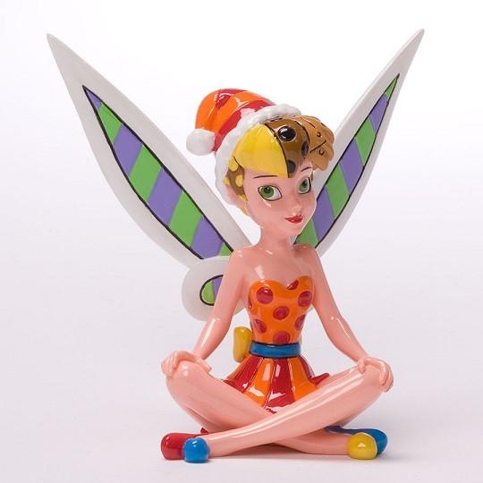 Romero Britto Pop Art aus Miami - Mini TInker Bell Christmas / TInkerbell sitzend mit Weihnachtsmütze